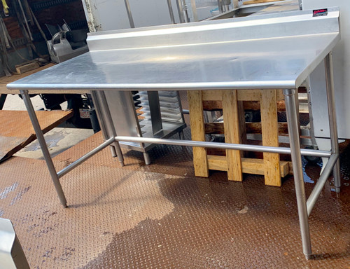 "Work Table, 72""W x 30""D, 16 gauge 304 stainless steel top with 5""H backsplash, stainless steel legs with side & rear crossrails, adjustable stainless steel bullet feet, NSF"