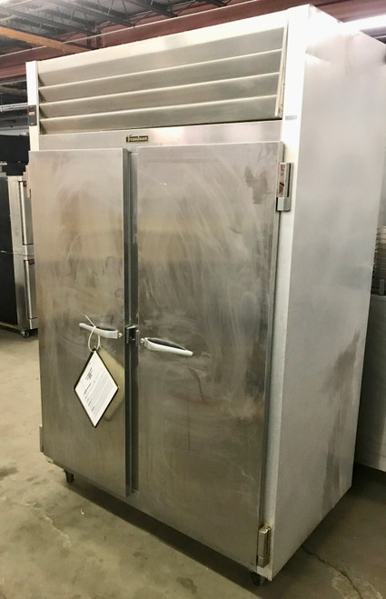 "USED Dealer's Choice Freezer, Reach-in, two-section, 46.0 cu. ft., self-contained refrigeration, stainless steel front & full height solid doors (hinged left/right), anodized aluminum sides & interior, 6"" high casters, NSF"