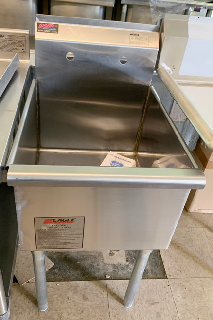 """Utility Sink, one compartment, 19-3/8""""W x 25""""D, 16/430 stainless steel construction, 18"""" wide x 21"""" front-to-back x 13-3/8"""" deep compartment, 8""""H backsplash with 1"""" upturn, 8"""" OC splash mount faucet holes, 2"""" euro-style front edge & rolled side edges, includes 3-1/2"""" basket drain, galvanized legs with adjustable plastic bullet feet"""