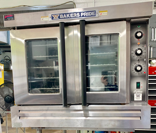 """used Cyclone Convection Oven, full-size, propane gas, single deck, rotary controls, 60 min. timer, 2-speed motor, stainless steel independent doors with double pane thermal glass, with racks, stainless steel top, front & sides, 31-3/8"""" painted legs, 60,000 BTU, cULus, UL EPH Classified"""