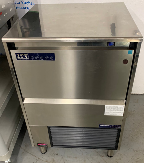 "SPIKA Ice Maker, self contained, half or full Classic American ice cube-style, 214 lb. production/24 hr, 81-lb ice storage capacity, electro mechanic timer, dual switch, 304 stainless steel construction, vertical plate evaporator, 6"" adjustable legs (not included on dimensions), cETLus, NSF"