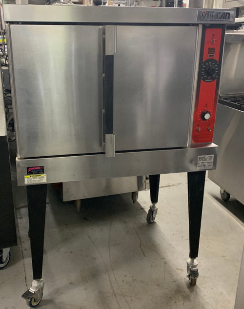 "USED VULCAN Convection Oven, natural gas, single-deck, standard depth, solid state controls, electronic spark igniter, 60 minute timer, nickel plated racks, 25-3/4"" high legs, stainless steel front, top and sides, stainless steel door with window, 50,000 BTU, NSF, CSA Star, CSA Flame"