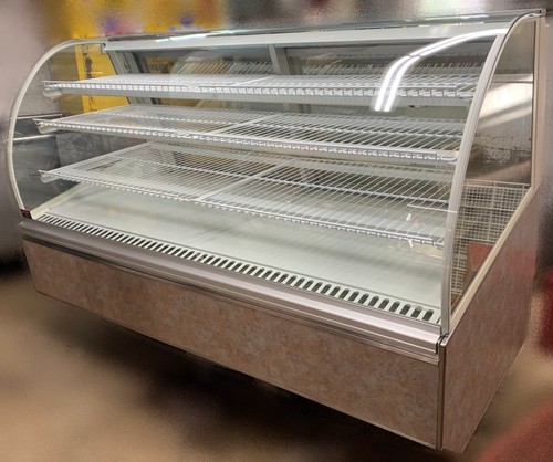 "USED FEDERAL Refrigerated Bakery Case, 77""W, x 38""D x 48""H, self contained refrigeration with condensate evaporator, adjustable temperature control, tempered curved lift-up front glass, top light & shelf lights, (3) tiers of adjustable white wire shelves, white interior, removable glass sliding rear doors sloped for easy product access, tempered glass ends, choice of laminate & trim, UL, UL EPH CLASSIFIED"