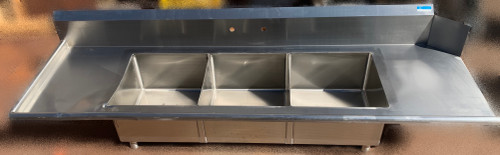 """BK RESOURCES Soiled Dishtable, & Three-Compartment Sink, 100""""W x 30-1/2""""D x 44""""H overall size, left-to-right operation, (3) 20"""" wide x 20"""" front-to-back x 12"""" deep compartments, 10""""H backsplash, 8"""" OC splash mount faucet holes, 18/304 stainless steel top, 1-5/8"""" rolled edges on front & sides, legs & side bracing."""