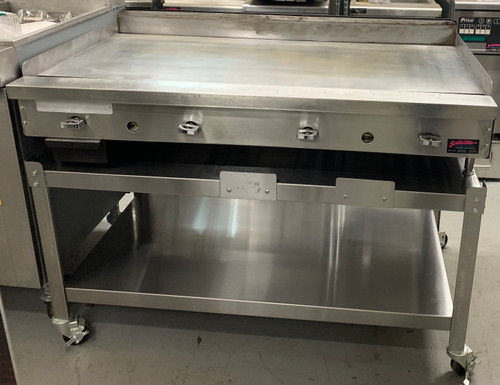 "Griddle, countertop, gas, 48"" W x 21-1/2"" D cooking surface, 3/4"" thick polished steel griddle plate, (4) burner, manual controls, stainless steel front, 4"" chrome adjustable legs, 96,000 BTU, NSF, CSA Flame, CSA Star"