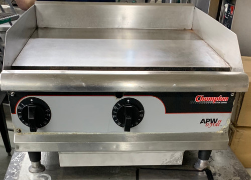 "USED Workline Griddle, natural gas, countertop, 24""W x 19-1/2""D cooking surface, 1"" thick smooth polished steel plate, snap-action thermostat, stainless steel front, top skirt, grease collection drawer & trough, aluminized steel sides & back panel, 4"" adjustable legs, cULus, UL, CE, 50,000 BTU"