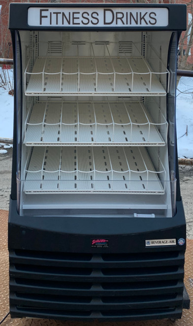 "BEVERAGE AIR Open Display Case, 30""W, 10.7 cu. ft., deck & (3) adjustable shelves, lighted sign panel, recessed interior lighting, white interior & exterior, bottom mount self-contained refrigeration, 1/2 HP, cULus, UL EPH Classified, UL-Sanitation, Made in USA  LOCATED: NORTH BROOKFIELD"