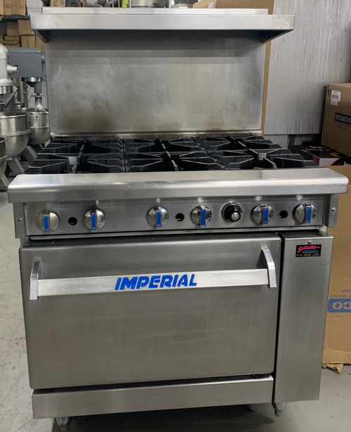 "USED IMPERIAL IR-6 Pro Series Restaurant Range, propane gas, 36"", (6) open burners, standard oven, (1) chrome rack, removable crumb tray, stainless steel front, sides, backguard, landing ledge & kick plate, 6"" legs, adjustable feet, 227,000 BTU, NSF, CE, CSA Flame, CSA Star  LOCATED: NORTH BROOKFIELD"
