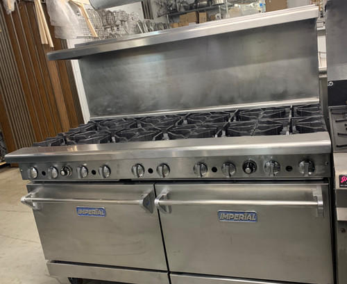 "Pro Series Restaurant Range, gas, 60"", (10) open burners, (2) standard ovens, (1) chrome rack per oven, removable crumb tray, stainless steel front, sides, backguard, shelf, landing ledge & kick plate, 6"" legs, adjustable feet, 390,000 BTU, NSF, CE, CSA Flame, CSA Star"