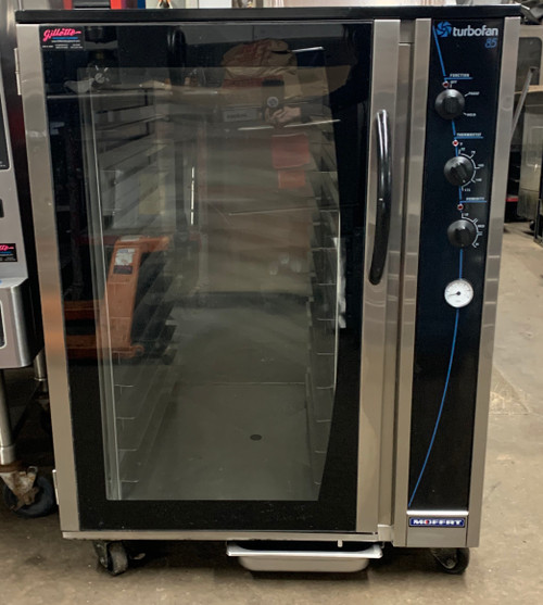 "Turbofan® Proofer/Holding Cabinet, capacity (12) full-size sheet pans, 2-7/8"" tray spacing, mechanical thermostat 65-185°F, humidity level control, off/proof/hold mode selection, auto water fill, stainless steel interior & exterior with glass door, 3"" casters (2 swivel with locks), cETLus, NSF"