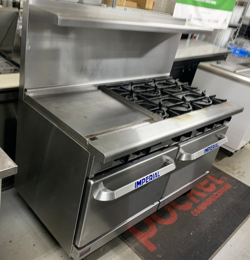 """Pro Series Restaurant Range, gas, 60"""", (6) open burners, (1) 24"""" griddle, (2) standard ovens, (1) chrome rack per oven, 3"""" grease trough, removable grease can & crumb tray, stainless steel front, sides, backguard, shelf, landing ledge & kick plate, 6"""" legs, adjustable feet, 302,000 BTU, NSF, CE, CSA Flame, CSA Star"""