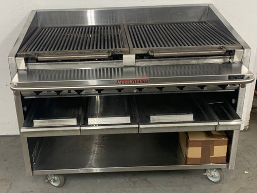 "Coal Charbroiler, floor model, gas, 48"" wide, 34"" high, free floating round rod top grate with EZ tilt to front grease trough, ceramic briquettes, standing pilot, 95% stainless steel unit, 6"" service shelf with utility bar, water tubs, open cabinet base, 6"" adjustable legs, top grid scraper"