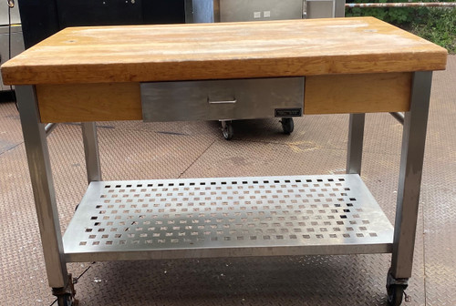 BUTCHER BLOCK WITH UNDER SHELF AND DRAWER