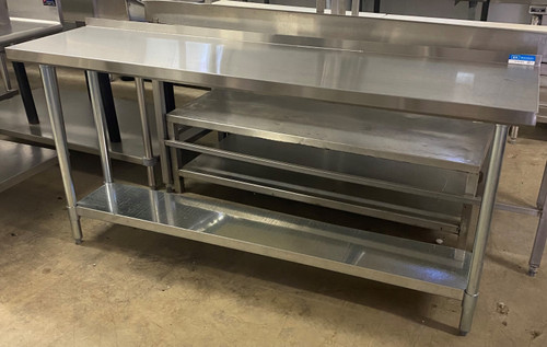 LONG STAINLESS STEEL TABLE WITH UNDERSHELF