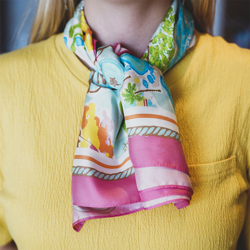 The Kahala Collage Collection 100% Silk Scarf