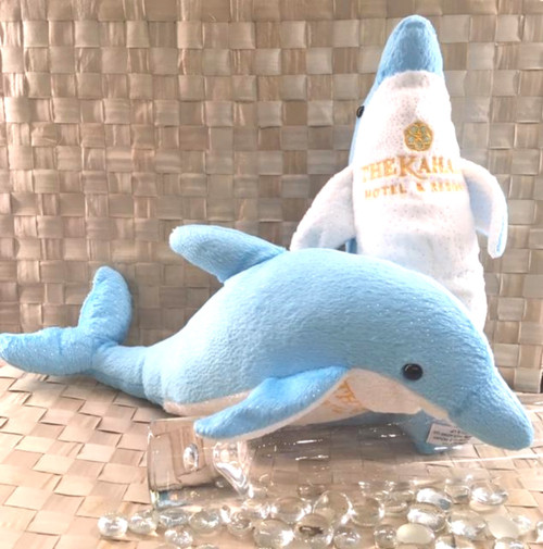 Dolphin plush animal with The Kahala logo