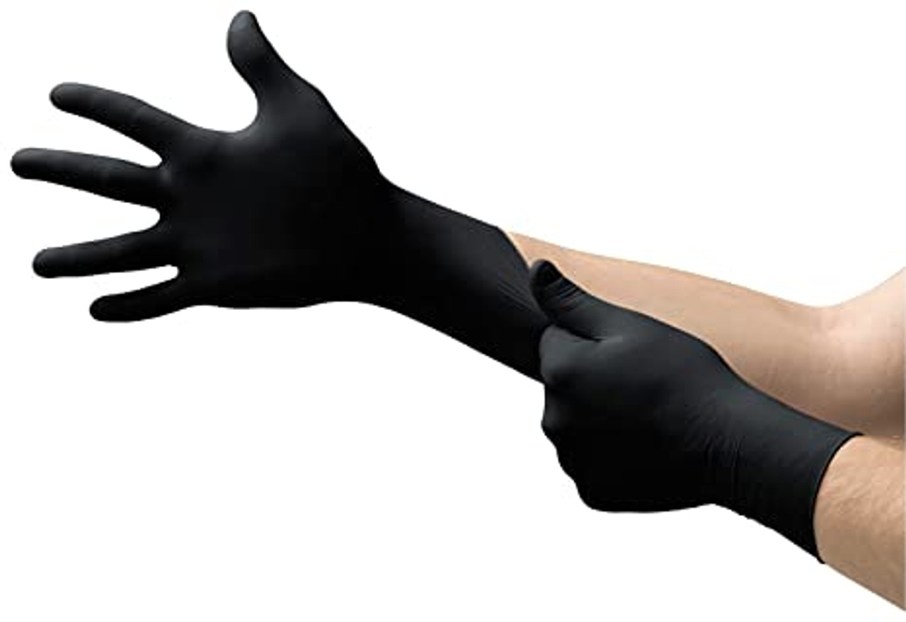 Microflex Midknight Black Nitrile Gloves-  100ct/box- Sizes S-XXL
