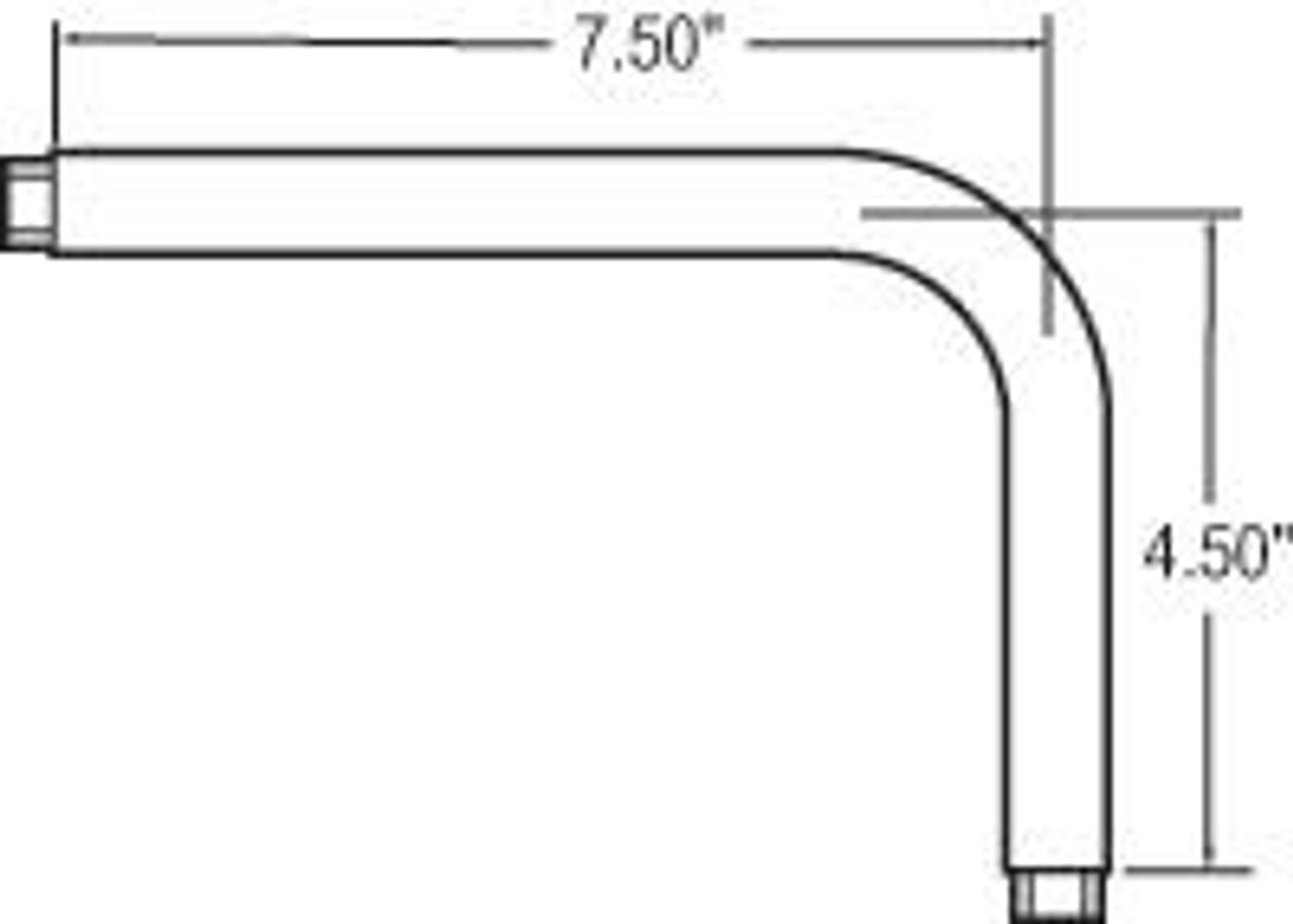 Truck-Lite 97748 Mirror Universal Elbow Extension, Silver Steel Tripod Bracket