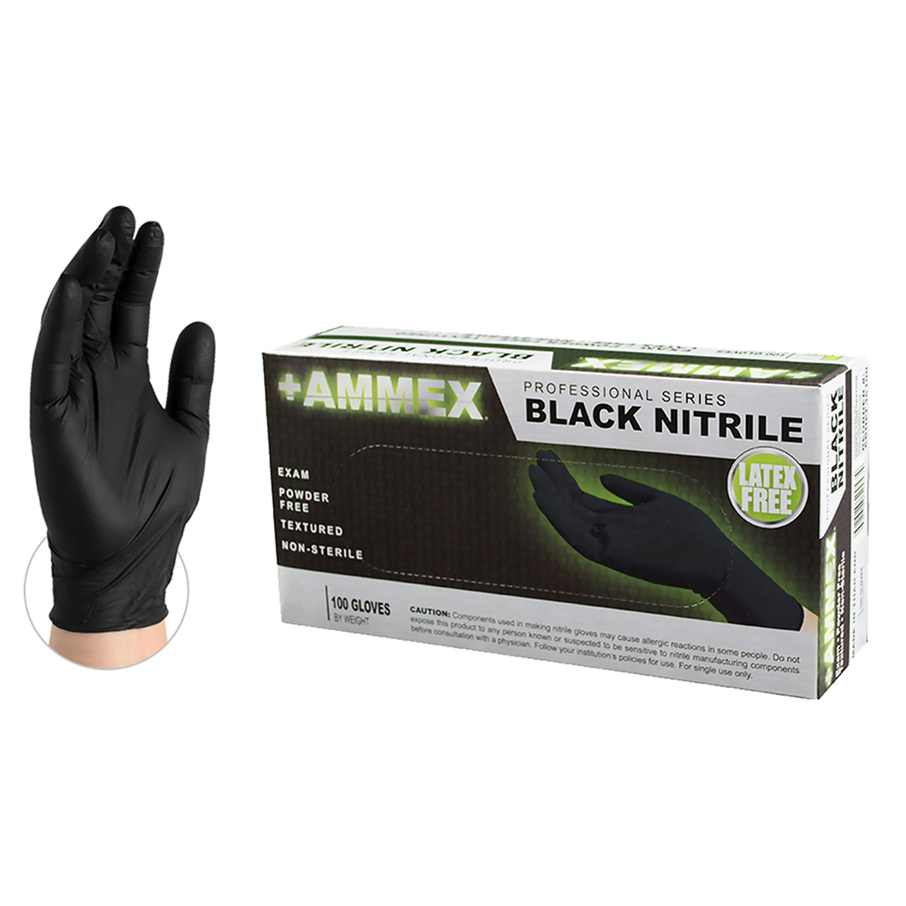 Ammex PF Exam Black Nitrile Gloves- Medium- 100ct/box- ABNPF44100