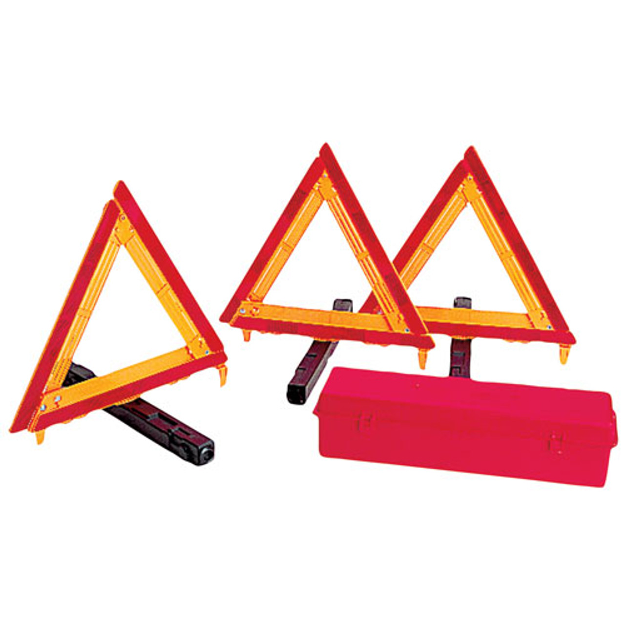 Warning Triangles w/ Case- Pack of Three- Weighted Bases- Deflecto 73-0711-41