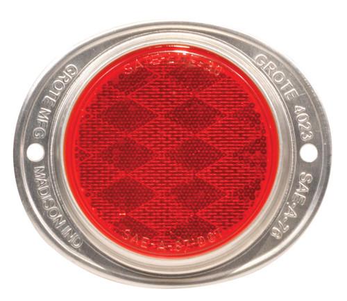 "Red Reflector , 3.5"" Round Aluminum Flange Mount"