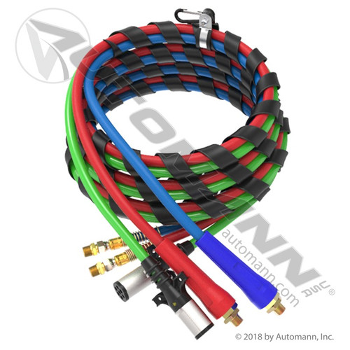 Air & Electric 3'n'1 Line Set- 15' Red/Blue Air Lines, Green ABS Cables