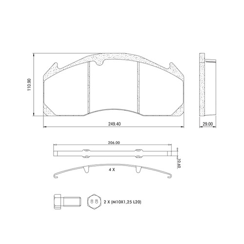 D1560 Air Disc Brake Pads for Lucas (Meritor) D-DUCO Systems