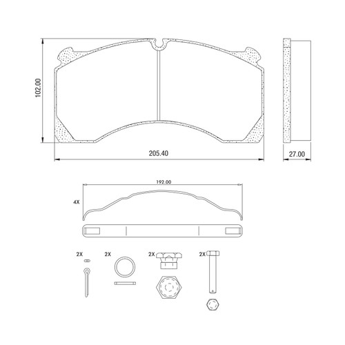 D1525 Air Disc Brake Pads for Meritor DX195 Systems