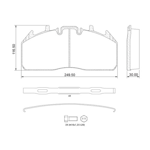 D1323 Air Disc Brake Pads for Meritor EXH225H3 Systems