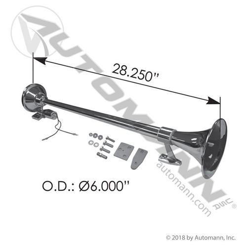 "Single Trumpet Air Horn- 28.5"" Long Chrome"