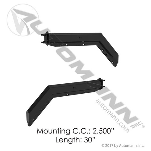 "Black Angled Spring Loaded Mudflap Hanger Kit- 30"" Long, 2.5"" Mounting"