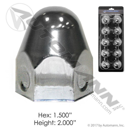 "Chrome Bullet Push-on Lugnut Covers for 1.5"" Lugs- 10 pack"