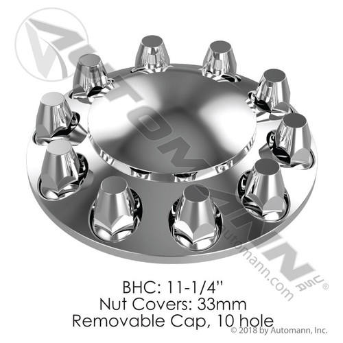 Front Axle Cover Set- 10 Lug- Chrome ABS- Each