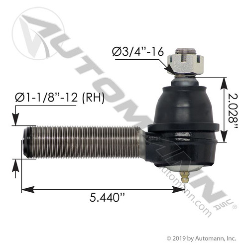 RH (Curbside) Tie Rod End- replaces R230144