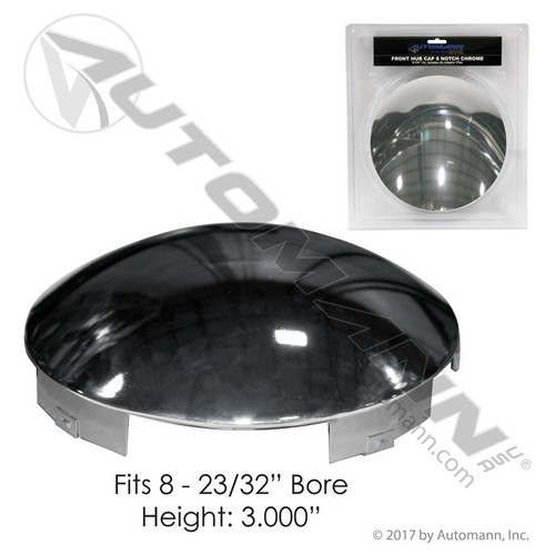 "Front Wheel Center Hub Cap- 6 Notch Chrome- 3/4"" lip"