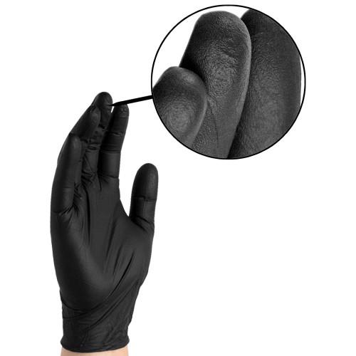 Ammex Glove Plus Black Nitrile Gloves- 100ct/box- Sizes M-XL