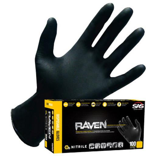 SAS Raven Black Nitrile Disposable Gloves- 6mil