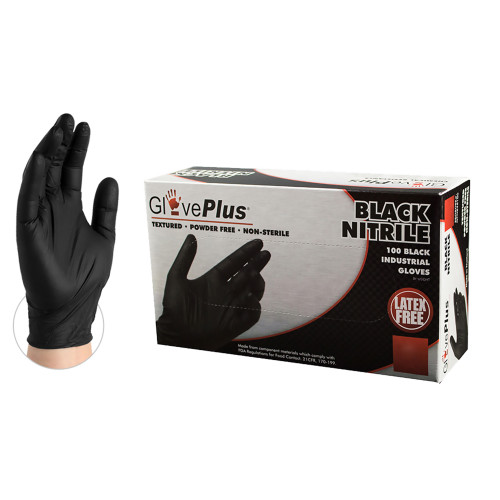 Ammex Glove Plus Black Nitrile Gloves- GPNB Cases of 10 x 100ct/boxes (1000 gloves)