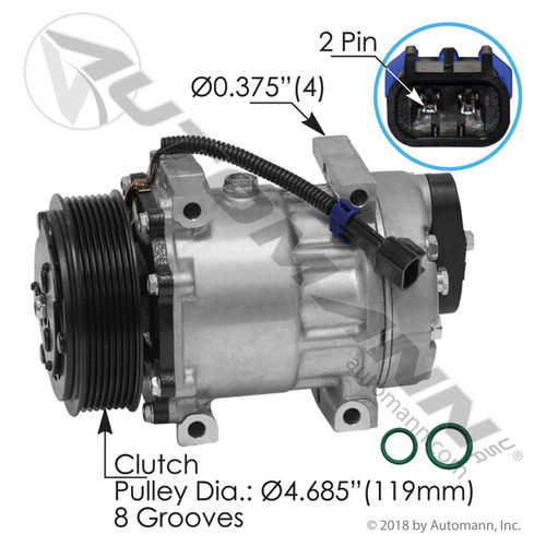 A/C Compressor- Sanden Type 7H15- 8 Rib Pulley- Replaces 4417 / 4818