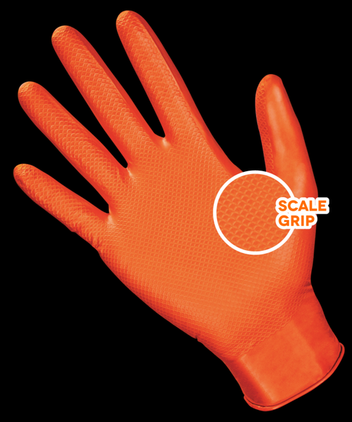 SAS Astro-grip Orange Nitrile Diamond Textured Disposable Gloves- 7mil