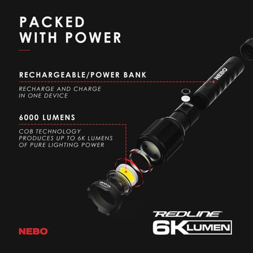 Nebo Redline 6K High Lumen Rechargeable Flashlight