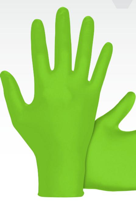 SAS Raven Hi-Viz Invue Green Nitrile Disposable Gloves- 6mil