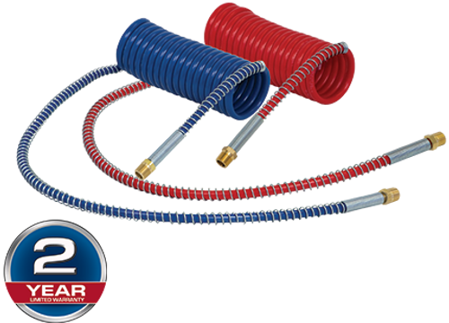 """Tectran 16215R Coiled Trailer Air Line Emergency / Red Only- 15' w/ 12"""" Leads- Industry Grade"""