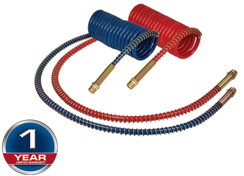 """VALUE LINE COILED TRAILER AIR LINES RED/BLUE 15' 12"""" LEADS"""