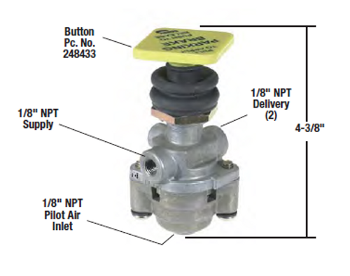 Bendix PP-5 Parking Brake Control Valve- 40psi Release *Genuine Bendix* 281946N