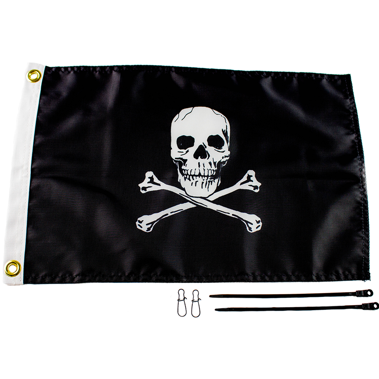 "Be the captain of you kayak fishing vessel with the Jolly Roger Flag Kit, 12"" x 18"""