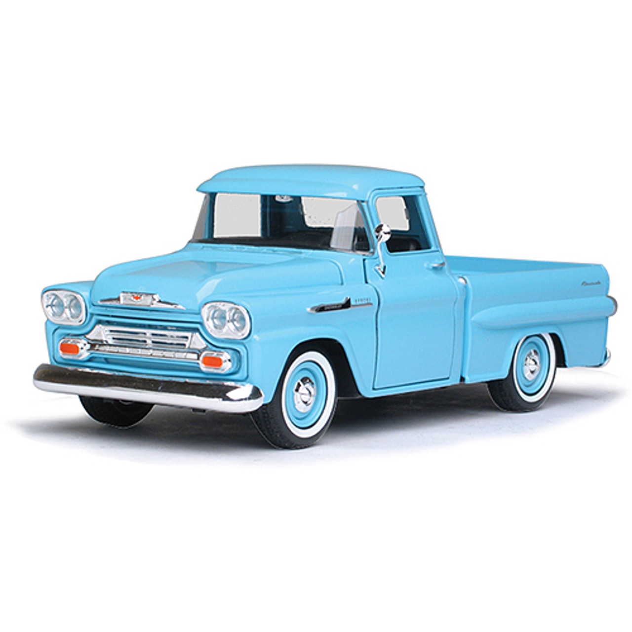 1958 Chevrolet Apache Fleetside Pickup Light Blue 1 24 Scale Diecast Model By Motormax Fairfield Collectibles The 1 Source For High Quality Diecast Scale Model Cars