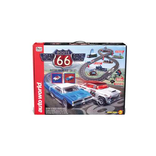 Route 66 Road Race Slot Car Set 1:43 Scale Diecast Model by Auto World