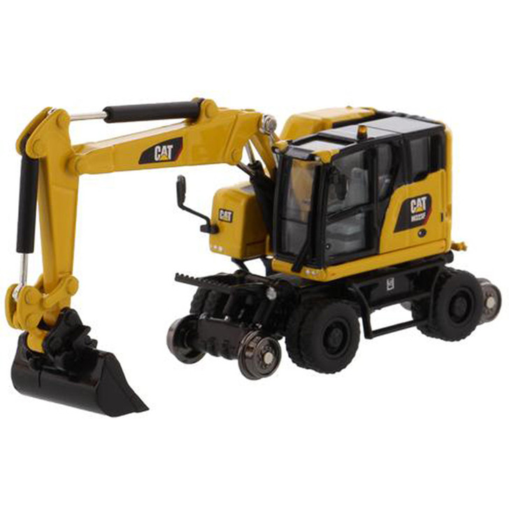 Caterpillar CAT M323F Railroad Wheeled Excavator - Safety Yellow Version 1:87 Scale Diecast Model by Diecast Masters Main Image
