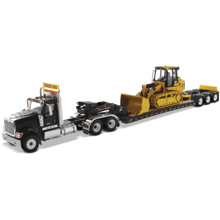 International HX520 Tandem Tractor + XL 120 Trailer & Caterpillar 963K Track Loader with Rear Boosters Main Image